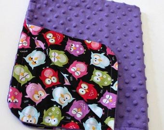 Baby Girl Blanket with Sleepy Owls and Purple Minky