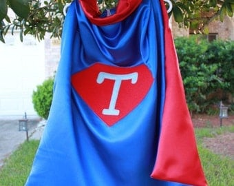 REVERSIBLE SuperHero Cape CUSTOMIZED with Initial (feedback can be read in this listing)