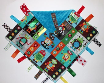 Robots Ribbon Tag Blankie with Pacifier Clip, Large 16 x 16 -  Aqua Blue Dot Minky