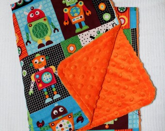 Robots Baby Blanket with Orange Minky