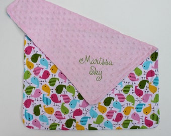 PERSONALIZED Baby Girl Stroller Blanket with Birds and a Light Pink Minky