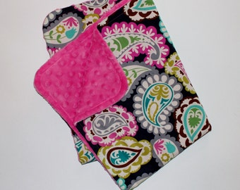 Baby Girl Stroller Blanket Colorful Roco Beat Paisley with Hot Pink Minky