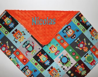 PERSONALIZED Robots Baby Blanket with Orange Minky