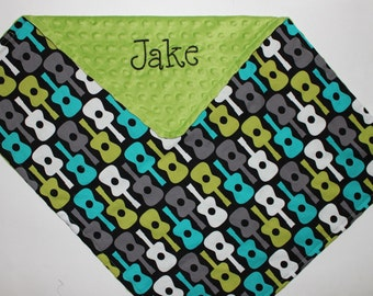 PERSONALIZED Groovy Guitars in Lagoon Stroller Blanket or Lovey with Green Minky