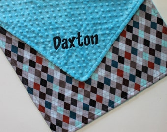 PERSONALIZED Baby Boy Argyle Stroller Blanket - Turquoise Dot Minky
