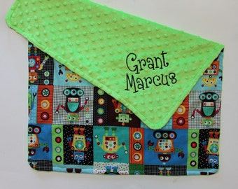 PERSONALIZED Robots Baby Blanket with Lime Green Dot Minky