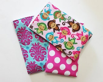 3 Premium Boutique 6 PLY Burp Cloth Set - Pink Monkeys, Polka Dots