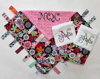 PERSONALIZED Baby Girl Ribbon Tag Blanket and 2 PERSONALIZED Burp Cloth Set - Flowers and Pink Minky