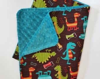 Baby Boy Dino Dudes Stroller Blanket - Teal Dot Minky