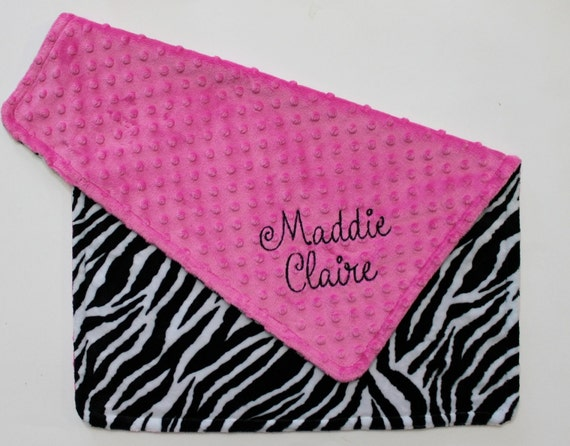 PERSONALIZED DOUBLE MINKY Baby Girl Stroller Blanket in Zebra and Hot Pink