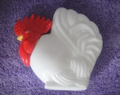 Rooster Milk Glass Decanter Country Kitchen