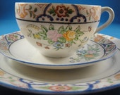 Vintage Hand Painted Cup, Saucer and Plate