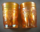 Carnival Glass Marigold Northwood Grape and Cable Tumblers