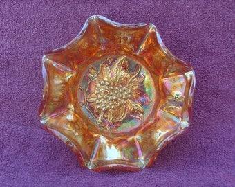 Marigold Carnival Glass Heavy Grape Pattern Bowl