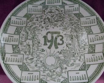 1973 Mythological Calendar Plate Mount Clemens