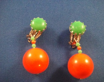 Earrings Clip-On Orange and Green
