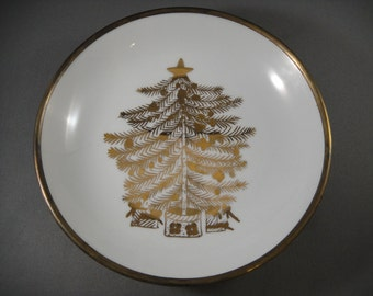 Porcelain and Brass Bowl with Painted Christmas Tree Japanese