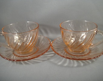 Pink Swirl Arcoroc Glass Cups and Saucers France