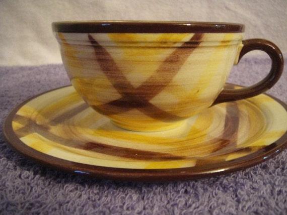 Organdie Pattern Vernon Kilns Cup and Saucer