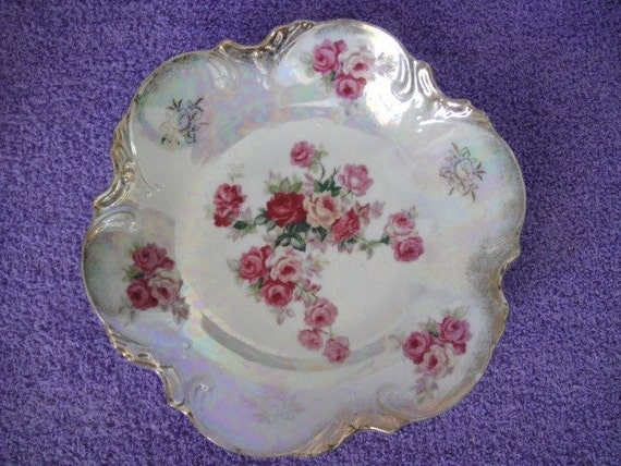 Vintage Lustreware Bowl with Roses and Gold Trim