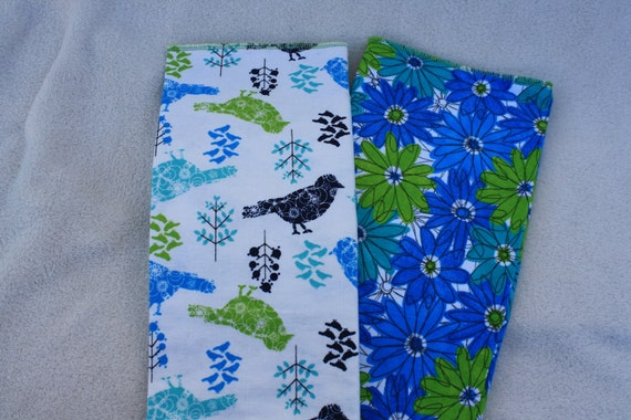 Pocket Prefold Flannel Diaper & Burp cloth in Sparrows and Daisies