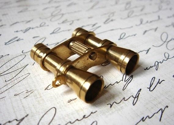RESERVED - 2pcs - Brass Binocular Charm - Pendant