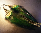 Peacock Jungle - Colorful Feather Earrings with Bronze Chaining