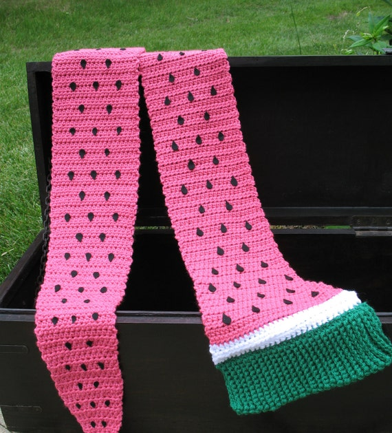 Crocheted Giant Watermelon Scarf, Cute for Summer, BBQs, Costumes, Photo Props