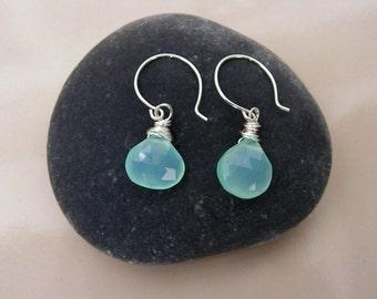 Aqua Blue Chalcedony Briolette Earrings