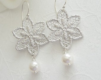 Bridal Earrings, Romantic Lace Earrings,  Rhodium Plated Lace Pendant, Sterling Silver Earwire and White Swarovski Pearls