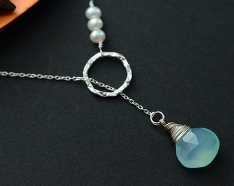 Aqua Blue Chalcedony and Freshwater Pearls Lariat Necklace, Bridesmaids Gift