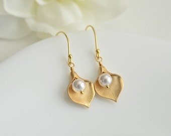 Calla Lily, White Swarovski Pearls Gold Plated Earrings