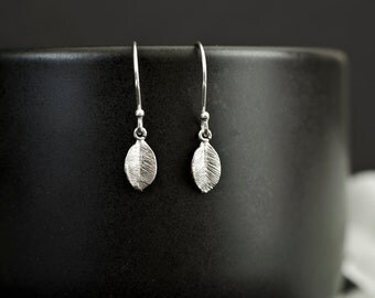 Tiny Leaf Silver Plated Earrings