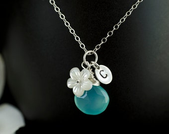 Custom Initial Necklace, Custom Stone, Silver Tiny Oval Tag, Aqua Blue Chalcedony, Mother Of Pearl Flower, Personalized Necklace