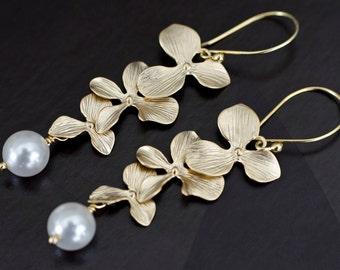 Bridal Pearl Earrings, Triple Orchid and Swarovski Pearls Earrings