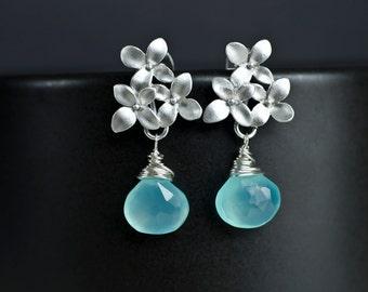 Aqua Blue Chalcedony Earrings, Silver Cherry Blossom Earrings .925 Sterling Silver Earring Post