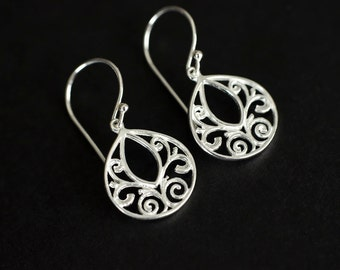Sterling Silver Filigree Teardrop Earrings, Oriental Filigree Earrings.