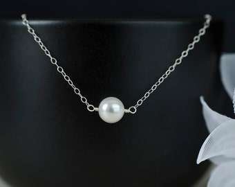 Single Swarovski Crystal Pearl and  Sterling Silver Chain  Necklace, Bridal Jewelry, Bridesmaids Gift