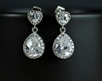 Bridal Earrings Cubic Zirconia Heart Shape Ear Posts and Large Cubic Zirconia Crystal Tear Drops