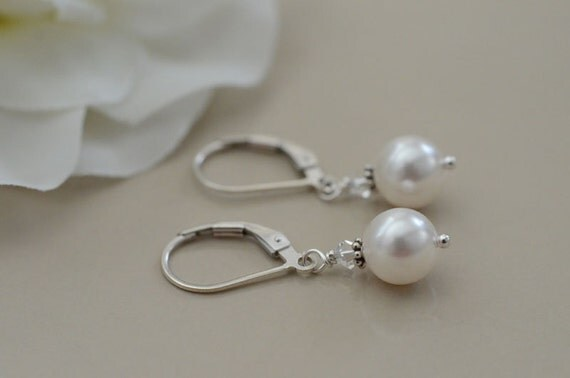 Bridal Earrings, Sterling Silver Earrings with White Swarovski Pearls