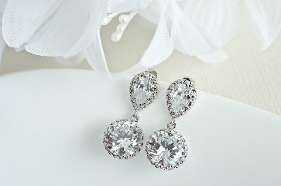 Bridal Earrings - Rhodium Plated Cubic Zirconia Ear Posts and Large Cubic Zirconia Round Drops Earrings