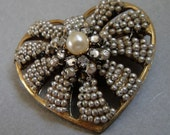 RESERVED for Shauna-Vintage Miriam Haskell Pearl Brooch Pin signed with a Horseshoe RARE Haskell hallmark pearls rhinestone roses montees