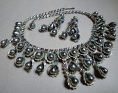 Vintage Rhinestone Necklace Earrings Parure Set Peacock AB Rhinestones and Grey Pearl Drops in silver tone setting bridal wedding set
