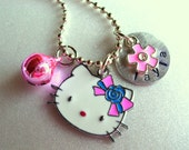 Personalized Enamel Hello Kitty Cat Necklace, Charm Jewelry, Cat Jewelry, Kitty Jewelry, Animal Jewelry
