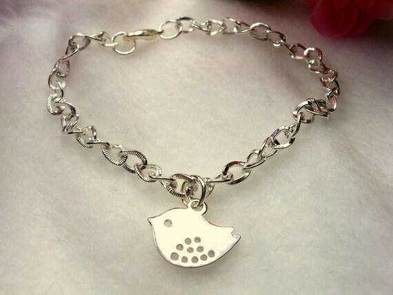 Silver Sparrow Bird Charm Bracelet, Charm Jewelry, Bird Jewelry
