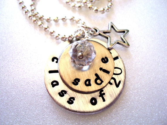 Personalized Graduation Necklace, Hand Stamped Charm Necklace, Star Charm Necklace, Class of 2012 Necklace