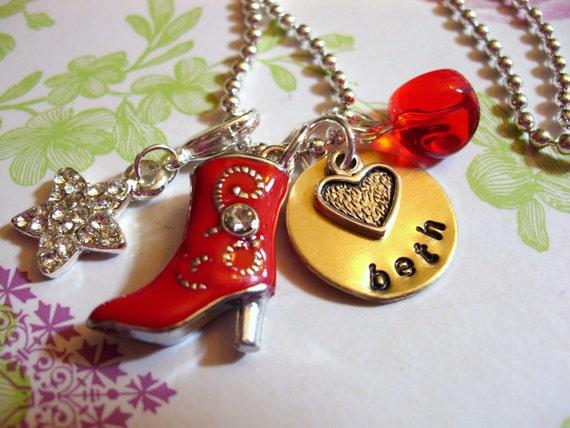 Personalized Enamel Cowboy Boot Necklace, Charm Jewelry, Rhinestone Star Necklace, Rhinestone Cowboy, Western Jewelry