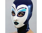 Latex Hood w Make Up in Blue - completely custom, made-to-measure