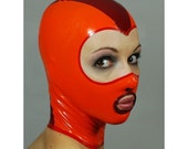 Openfaced Latex Hood w Ring in Orange Plum - completely custom, made-to-measure