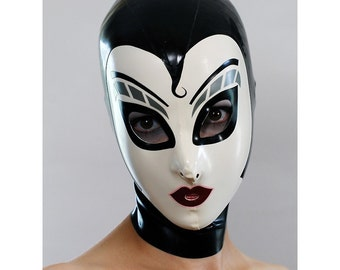 Latex Hood w Silver Make Up in Black and White - completely custom, made-to-measure